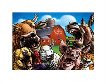 "Funny Farm  8"" x 10"" Laughing Farm Animals- Whimsical Wall Decor"