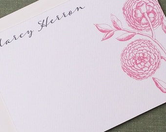 Pink Vintage Floral Personalized Flat Notes, Set of 15