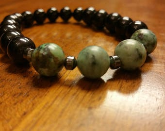 Men's Bracelet, African Turquoise and Onyx