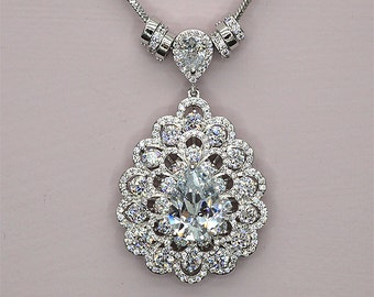 Large Crystal Pendant Necklace  Statement Necklace for Wedding Rhinestone Bridal Necklace Daughter to Mother Gift Vintage Style Necklace