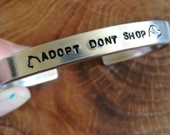 Adopt don't shop cat and dog animal adoption cuff bracelet - animal liberation - vegan - adjustable - handstamped - unisex