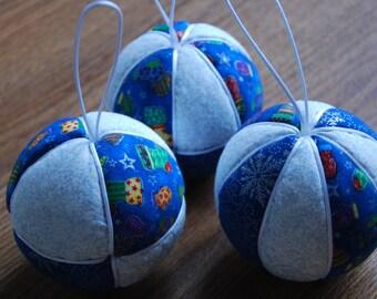 Christmas Bauble, Set of Three Christmas Baubles, Christmas Baubles, Fabric Christmas Baubles, fabric christmas ornaments