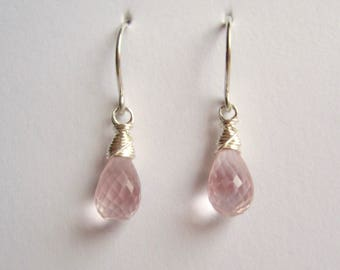 Rose quartz faceted briolette drops with sterling silver wrap and French hook ear wires