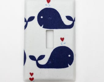 Whales and Hearts Friends Light Switch Plate Cover / Outlet Cover / Bedroom / Home Decor / Baby Shower Gift / Nursery Decor / Kid's Room