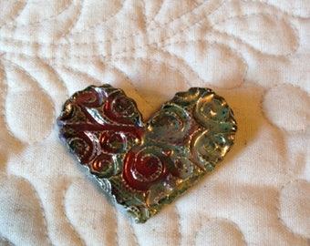 RAKU Heart Pin (Brooch)