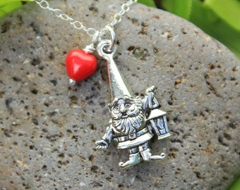 Lovely Gnome Necklace - red heart -sterling silver chain - woodland fairy creature fun - Free Shipping in USA