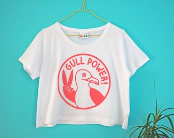 Gull Power Cropped T-shirt, Cute Crop Top, Feminist T-shirt, Girl Power Tshirt, Seafull Tee, Funny Women's T-shirt, Crop Tee, Pink Crop Top