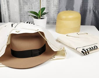 HAT DUSTBAG by HUFVUD | Protect your hat from dust | Storage Saver | Breathable dustbag | 100 % Organic Natural Color Cotton