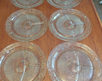 Vintage Sectioned Dinner Plates with Flower Pattern Set of 6 Plates