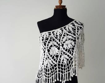 Wedding Lace Bolero - Crochet Bolero - Laced Poncho - Bridal Wrap - Crochet Poncho - Bridal Cover Shoulder - Wedding Coverup - Bridal Poncho