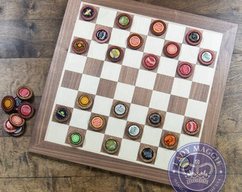 Bottle Cap Checkers - Wooden Checkerboard with Bottle Cap Tokens Checkers Board with Laser Cut Beer Cap Checkers Pieces Bottle Cap Draughts