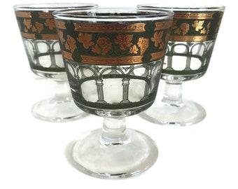 Vintage Barware, Cera Martini Glasses, Golden Grapes Green Pattern, Set of 3, Cocktail Glasses, On the Rocks Glasses, Glass Stemware
