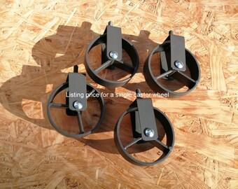 Industrial furniture metal castors casters iron caster wheel vintage 8,9 cm graphite