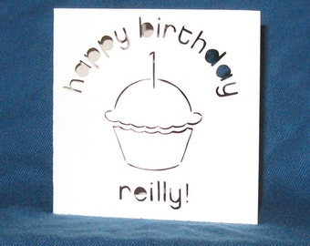 Personalized Cupcake Card, Happy Birthday, Hand Cut Card