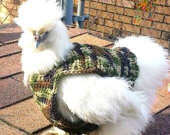 Camo chicken sweater, chicken sweaters, hen saddles, battery hen jumper