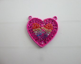 "1 large heart charm ""heart to separate"" metal color"