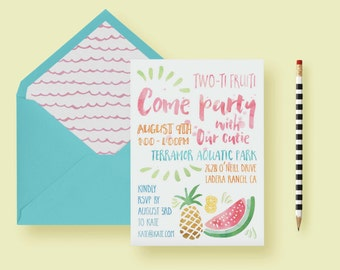 Fruit Themed Party Invite - Two Year Old Birthday Party Invitation - Summer Invite - Pineapple, Watermellon, Lemon - Printable or Printed