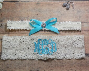 Monogrammed Garter, Garter, Aqua Garter, Blue Garter, Something Blue, Personalized Garter, Custom Garter, Brides Garter, Bride, Wedding