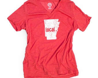 Arkansas Women's Local Relaxed Fit V-Neck, Heather Red