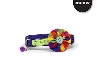 GOOOD Cat Collar   Bloomie - Fiesta   100% Multi Colors Cotton Fabric   Safety Breakaway Buckle