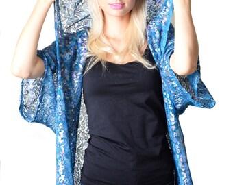 Erin Blue Lace Hood