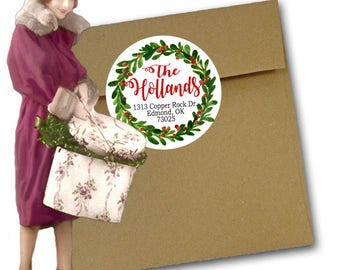 Christmas Address Labels, Wreath Christmas Address Labels, Christmas Stickers, Holiday Address Labels