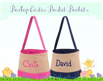 Burlap Easter Basket Bucket, Personalized Easter Basket, Personalized Bucket, Monogram Easter Basket, Easter Basket, Monogram Easter Basket