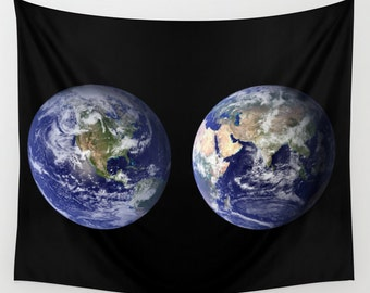 Earth from Space Wall Tapestry, Space Tapestry, World Tapestries, Black, Noir Wall Art, Nature, Home Interior, Dorm, Office, Office Decor