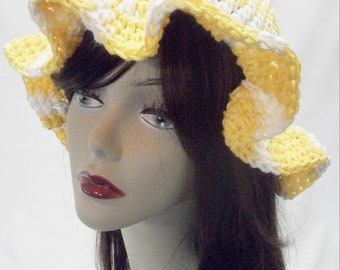 Crochet Sun Hat in Yellow and White, Cotton Floppy Summer Hat,