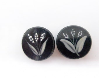 2 Vintage Antique Edwardian Hand Painted Lily of the Valley Flower Black Glass Buttons