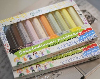 """Chocolate """"PENCILS COLLECTION"""", 95g/3.35oz, Natural colors from fruits and vegetables chocolate for Kids  Birthday Gift"""