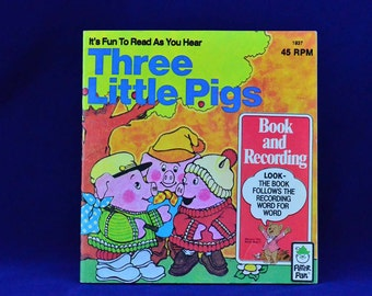 Three Little Pigs - Vintage 45 RPM Peter Pan Read-Along LP Illustrated Book and Record Set #1937 - Fairy Tale - Classic Story