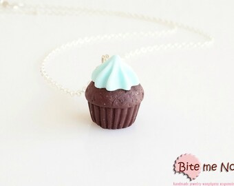 Mint Cupcake Necklace, Cupcake Charm, Cupcake Jewelry, Mini Cupcake, Miniature Food, Polymer Clay Sweets, Kawaii Jewelry, Foodie Gift