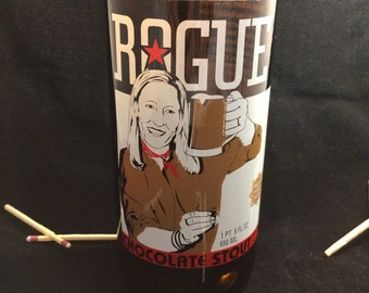 Custom Soy Upcycled Beer Bottle Container Candle-ROGUE BREWING Chocolate Stout