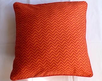Peach and Red Throw Pillow, Chevron design, Cushion 50x50 with Red Piping, 100PCT cotton, filling included [Extra 20% off with voucher]