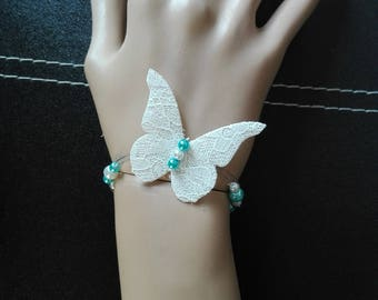 linen lace Butterfly bride bracelet white pearls and turquoise blue wedding party ceremony