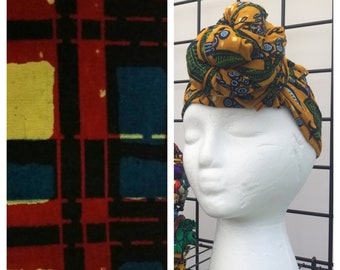 HEAD WRAP african wax print -- Red Blue Crosshatch
