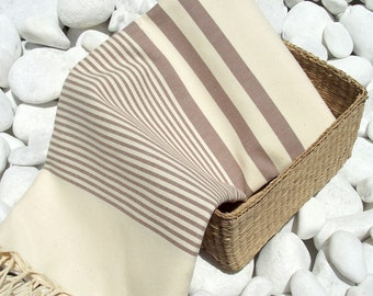 Turkishtowel-High Quality Hand Woven Turkish Cotton Bath,Beach,Pool,Spa,Yoga Towel or Sarong- Soft Brown Stripes on Natural Cream