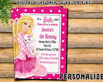 Barbie Invitation, Barbie Birthday Invitation, Barbie Printable Invitation, 300 Dpi, High Resolution Image, Digital Files Only.