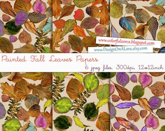Painted Fall Leaves Digital Papers, Watercolor Autumn Leaves Papers, digital scrapbooking leaf papers, Hand drawn leaves papers