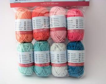 8 cotton yarn set - 25 meters - orange - pink - green - turquoise