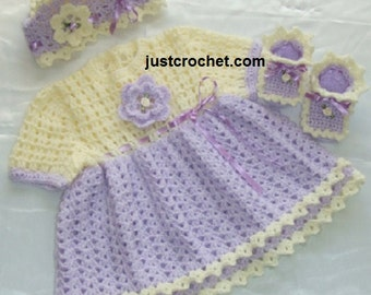 Dress, cap and boots Baby Crochet Pattern (DOWNLOAD) 06