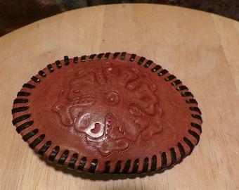 Leather belt buckle, vintage leather belt buckle, gift for her, gift for him, Tooled leather belt buckle