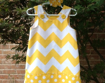 Yellow Large Chevron Dress, (girls, infant, toddler, child)  jumper or sundress, with matching hair accessory