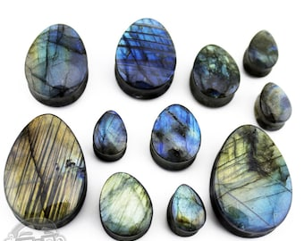 "Labradorite Stone Teardrop Plugs - Sizes / Gauges (1/2""- 1 & 1/4"" Inch)"