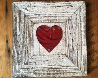 Reclaimed wood tin heart frame