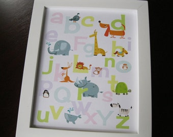 Alphabet and Number Prints - Animals Zoo - Instant Download 8 x 10 PASTEL DIY printable