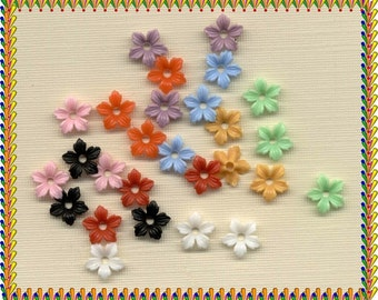 27 Vintage Plastic Flowers Beads Charm stackable Bead Caps 9 COLORS Jewelry Findings