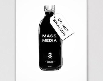 Caution, Brainwash! Mass Media: Do Not Swallow Political Poster Art Print - ALLRIOT