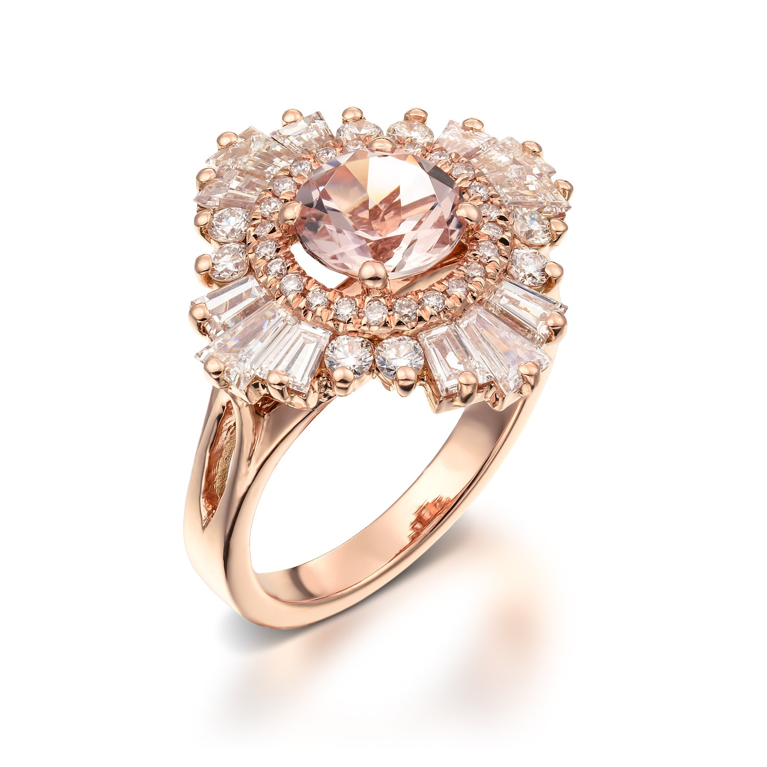 Unique Engagement Ring 18K Rose Gold Diamonds And Morganite